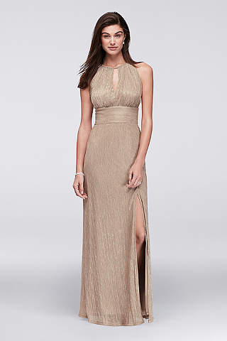 K'Mich Weddings - wedding planning - mother of the dresses - Metallic Keyhole Halter A-Line Dress - M&Richard