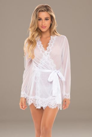 Provence Eyelash Lace Robe with Sash and G-String