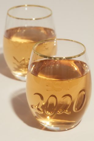 Mr and Mrs Embossed Stemless Wine Glass Set