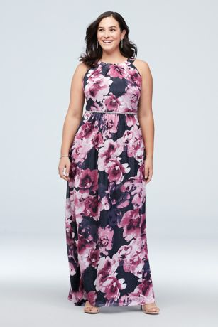 High-Neck Chiffon Plus Size Dress with Crystals