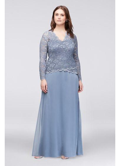 Long Sleeve Lace And Chiffon Plus Size Dress Davids Bridal