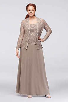 Sequin Lace and Chiffon Two-Piece Plus-Size Dress