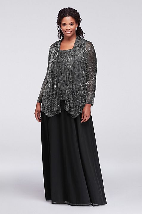 Textured Metallic Plus Size Dress with Jacket | David\'s Bridal