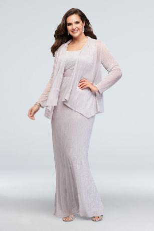 Metallic Long Sheath Dress and Jacket Set