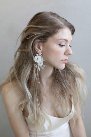 Handmade Silk and Clay Blossom Earrings