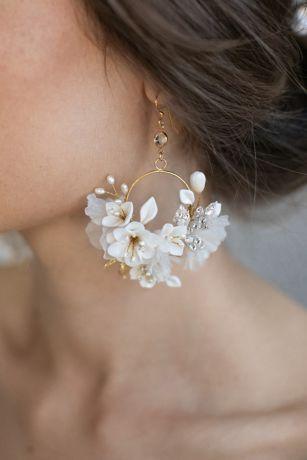 Silk Flower Hoop Earrings
