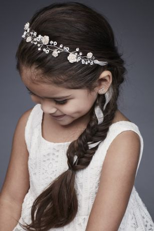 Hand-Wired Crystal Blossom Flower Girl Headband