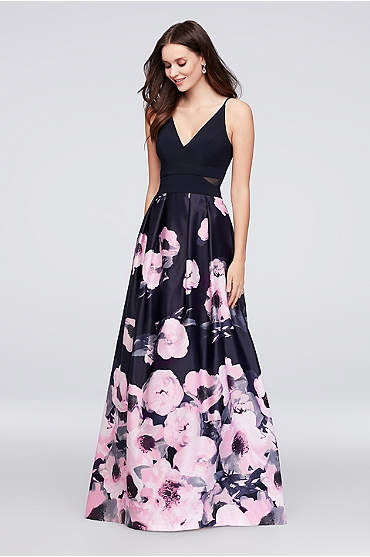 V-Neck Jersey and Printed Satin Ball Gown