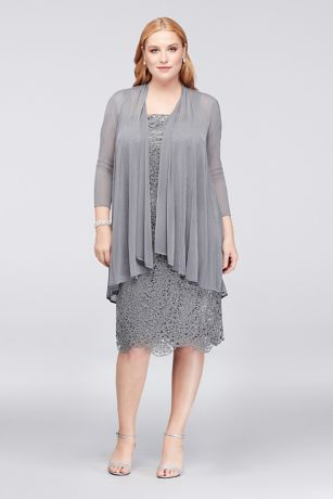 Metallic Lace Plus Size Shift Dress with Jacket