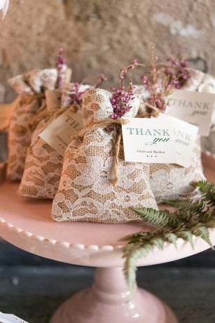 Burlap and Lace Favor Bag Set of 12