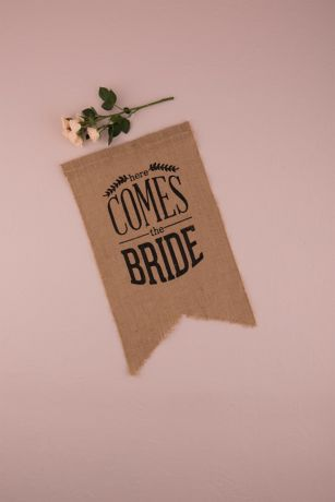 Burlap Print Here Comes The Bride Ceremony Sign