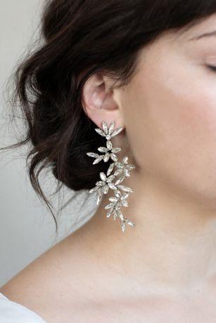Cascading Crystal Flower Drop Earrings