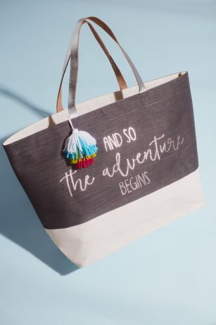 The Adventure Begins Canvas Tote with Tassel