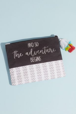 The Adventure Begins Canvas Pouch with Tassel