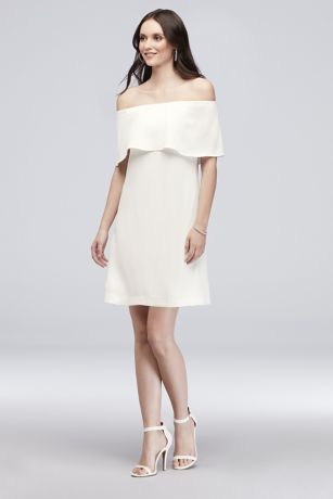Crepe Off-the-Shoulder Short Sheath Dress