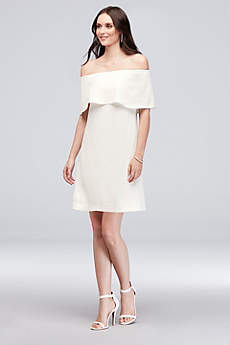Short Sheath Off the Shoulder Cocktail and Party Dress - Charles Henry
