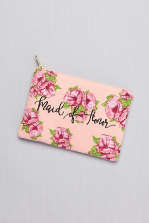 Maid of Honor Floral Canvas Pouch