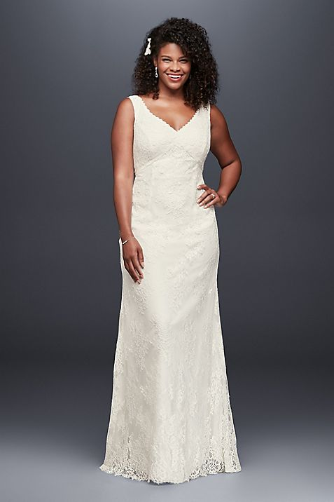 V-Neck Plus Size Wedding Dress with Empire Waist | David\'s Bridal