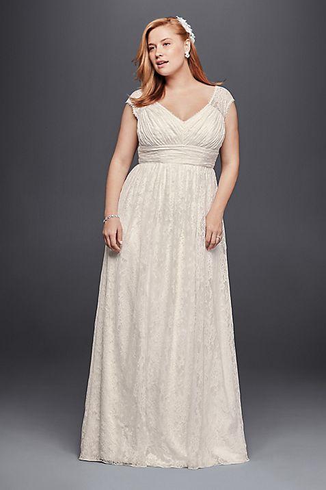 Plus Size Sheath Wedding Dress with Cap Sleeves   David\'s Bridal