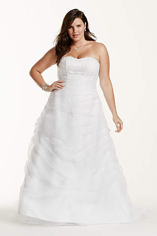 Organza Draped Pick Up With Beaded Lace Empire