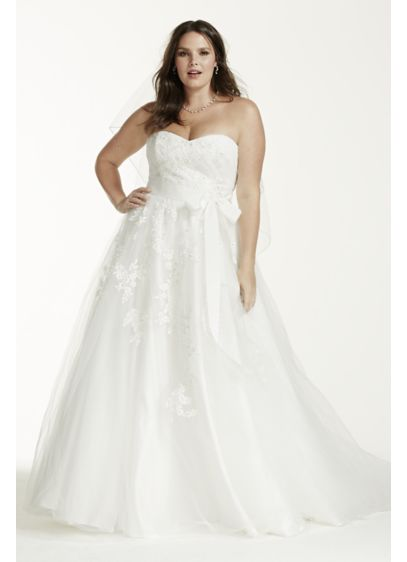 Strapless Tulle Plus Size Wedding Dress With Beads Davids Bridal
