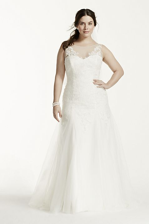 Illusion Neck Deep V Back Plus Size Wedding Dress