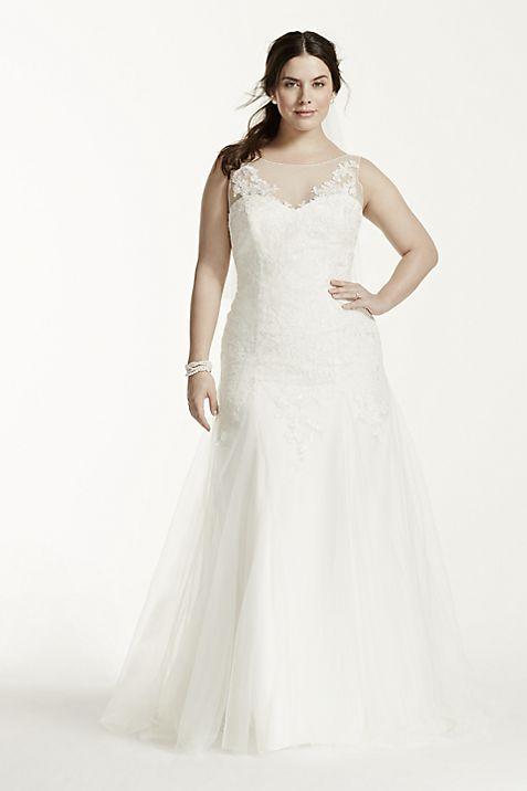 Illusion Neck Deep V Back Plus Size Wedding Dress | David\'s Bridal