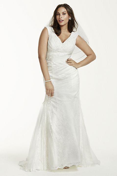 Jewel Off The Shoulder Plus Size Wedding Dress Davids Bridal
