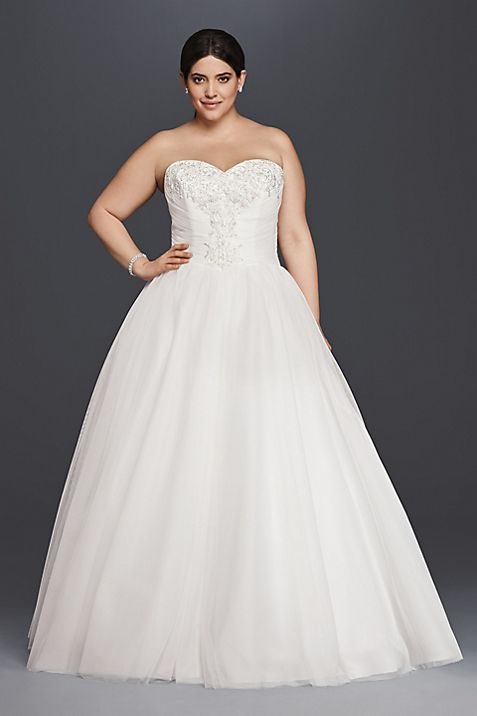 As-Is Plus Size Strapless Ball Gown Wedding Dress | David\'s Bridal
