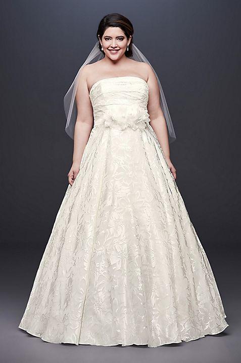 Printed Organza A-line Plus Size Wedding Dress | David\'s Bridal