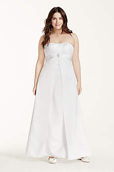 Satin Plus Size Wedding Dress with Pleated Bodice