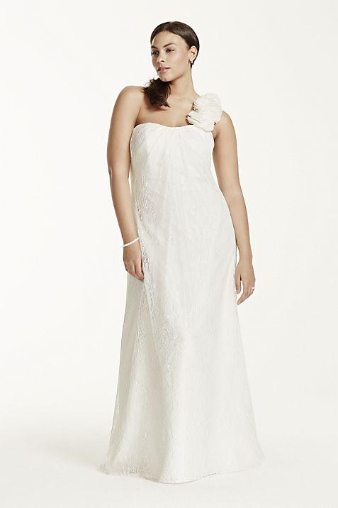As Is Plus Size One Shoulder Wedding Dress Davids Bridal
