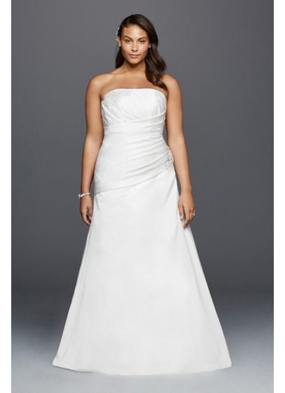 Strapless Ruched Plus Size Wedding Dress with Lace | David\'s Bridal