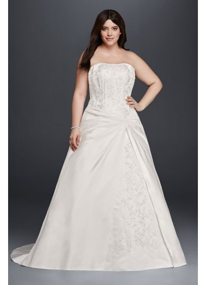 Draped a line plus size strapless wedding dress davids bridal long a line formal wedding dress junglespirit Choice Image