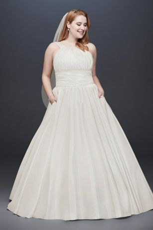 Taffeta Plus Size Ball Gown Wedding Dress