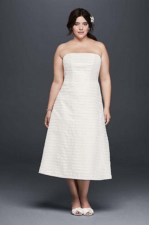 Striped Organza Short Plus Size Wedding Dress | David\'s Bridal