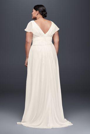 Flutter Sleeve Chiffon Plus Size Wedding Dress David S