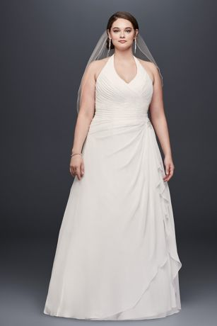 Pleated Ruffled Chiffon Plus Size Wedding Dress   David\'s Bridal