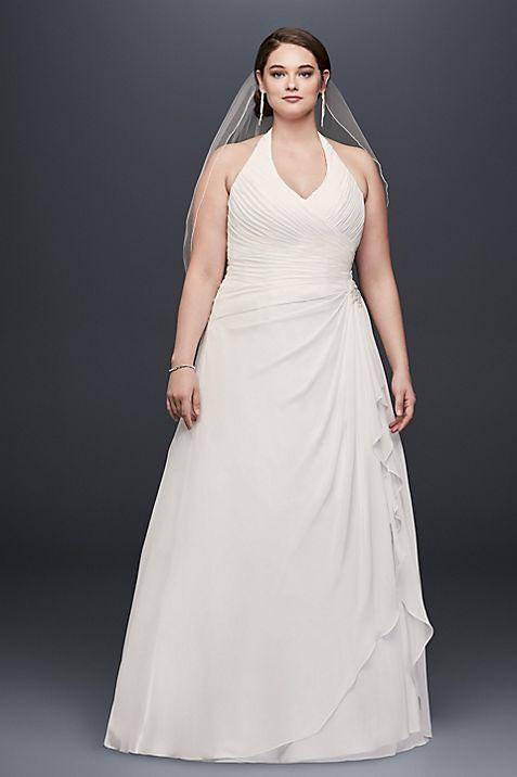 Pleated Ruffled Chiffon Plus Size Wedding Dress | David\'s Bridal
