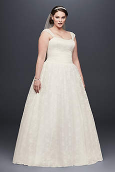 Sheer Cap Sleeve Allover Lace Plus Size Ball Gown