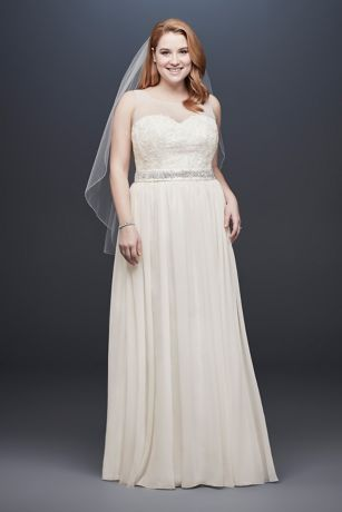 Lace and Crinkle Chiffon Plus Size Wedding Dress