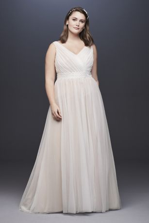 Pleated Plus Size Wedding Dress with Lace Waist