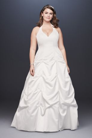 Satin Halter Plus Size A-Line Gown with Pick-Ups