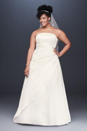 Lace Applique Satin Plus Size A-Line Wedding Dress