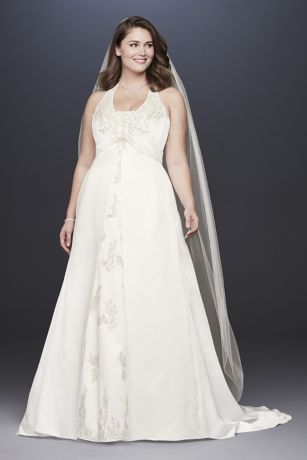 Embroidered Lace Satin Plus Size Wedding Dress