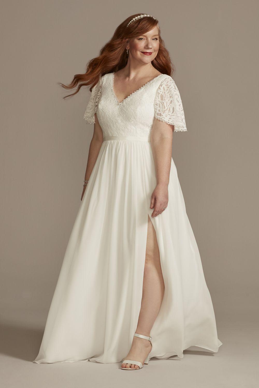 Lace Chiffon Flutter Sleeve Plus Wedding Dress $199.95