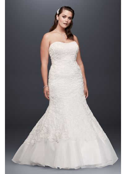 Lace Over Charmeuse Gown with Soutache Detail | David\'s Bridal