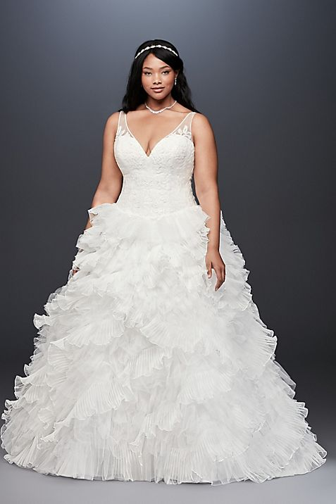 Plunging Plus Size Wedding Dress With Tiered Skirt Davids Bridal