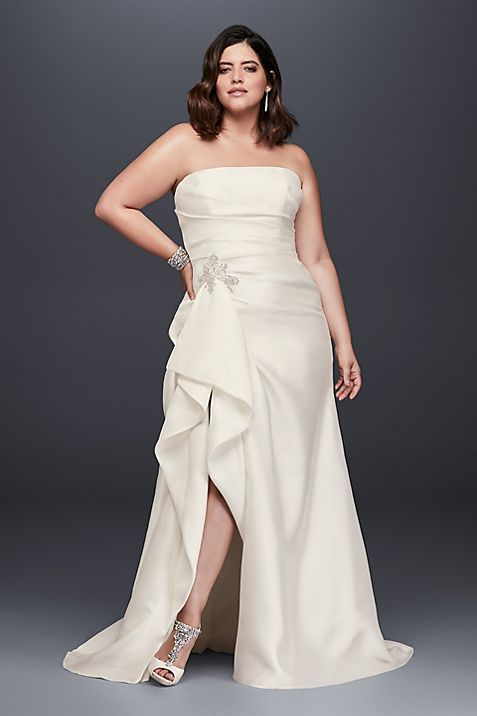 Mikado Plus Size Wedding Dress with Slit Skirt | David\'s Bridal