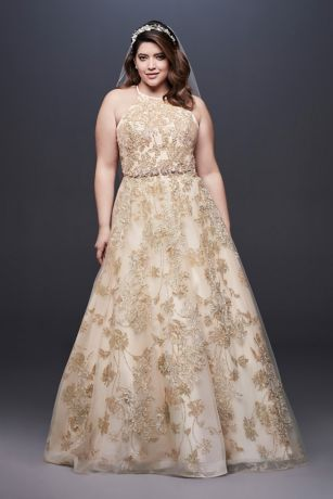 Allover Lace Applique Halter Plus Size Ball Gown